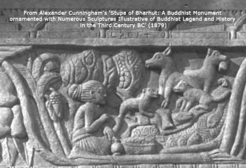 A section of the Bharhut Stupa railing (3rd – 2nd century BC) shows a woman seated with dogs and cats. This photo is from Alexander Cunningham's 'Stupa of Bharhut: A Buddhist Monument ornamented with Numerous Sculptures Illustrative of Buddhist Legend and History in the Third Century AD' (1879).