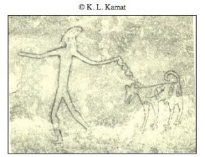 Man with leashed dog, Bhimbetka. Photo by K.L. Kamat, reproduced with permission.
