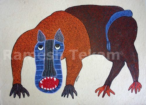 A village dog, painting by Gond artist Ramesh Tekam. Though stylized, it shows the erect pointed ears and upcurved tail of village INDogs, and of course dew claws.