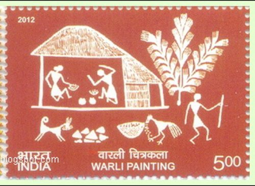 Warli village scene with dog: A typical painting of the Warli tribe, used on a postage stamp